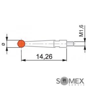 Dotek s kuličkou M1,6 rubín